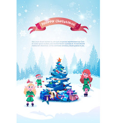 winter holidays background with green elfs over vector image
