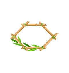 wooden frame made of bamboo sticks and leaves vector image