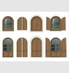 Wooden window and doors with shutters vector