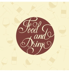 Word Food and Drink - on a white plate vector