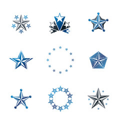 ancient stars emblems set heraldic design vector image vector image