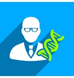 Genetic Engineer Flat Square Icon with Long Shadow vector image vector image