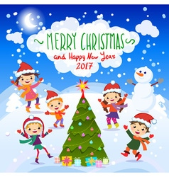 Merry Christmas And Happy New Year 2017 Winter fun vector image