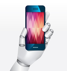 robot hand hold smartphone design concept vector image vector image