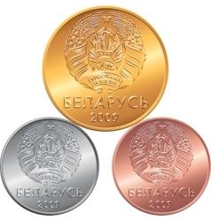 Set obverse new Belarusian Money coins vector image vector image