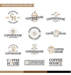 set of coffee and tea logo combination vector image vector image