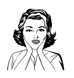 portrait surprise woman comic image vector image