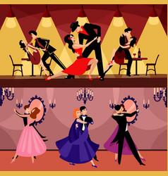 professional dancers horizontal banners vector image