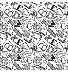 Seamless pattern with hand drawn fancy alphabet vector image