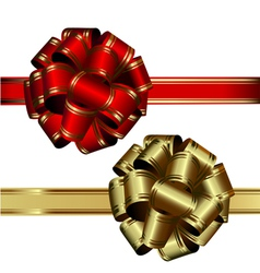 set of two bows red and gold on a white background vector image