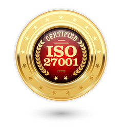 iso 27001 certified medal - information security m vector image vector image