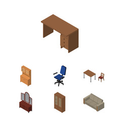 Isometric furniture set of couch table office vector