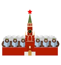 Moscow Kremlin and bears Many Russian evil animals vector image