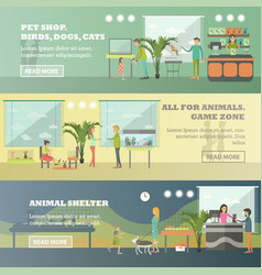 set of pet store horizontal banners in flat vector image vector image