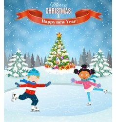 Winter scene with skating children vector image vector image