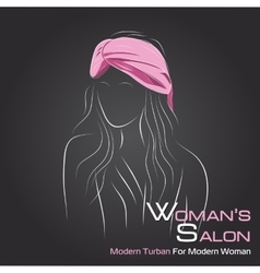Woman look at side in pink turban on black vector image