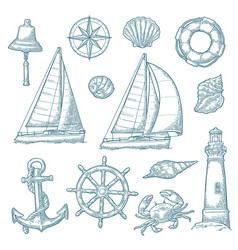 anchor wheel sailing ship compass rose shell vector image vector image