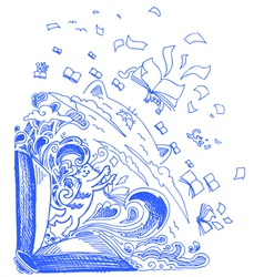 Blue sketch doodles with cats and books vector image vector image