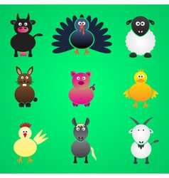colorful farm animals simple icons set eps10 vector image vector image