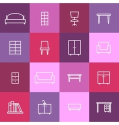 Home interior icons vector image