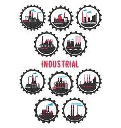 Industrial plants flat symbols framed by cogwheels vector image