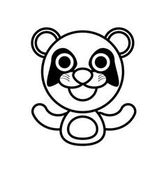 Panda animal toy outline vector