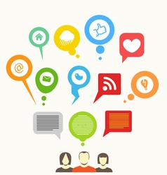 Social media network abstract speech bubbles vector image vector image