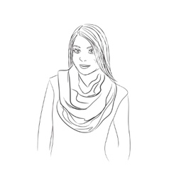The girl in a scarf vector image vector image
