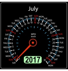 year 2017 calendar speedometer car in July vector image vector image