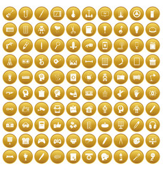 100 creative idea icons set gold vector