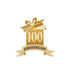 100 years gift box ribbon anniversary vector image