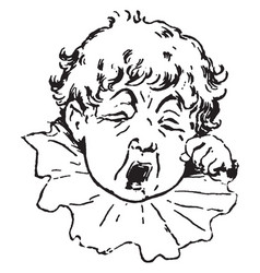 A little boy wiping a tear vintage engraving vector