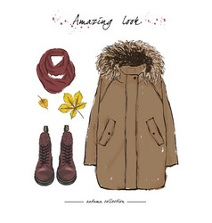 A set of autumn outfit with accessories brown vector