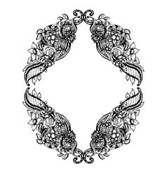 Abstract black and white floral frame vector image