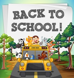 Back to school theme with animals on bus vector image