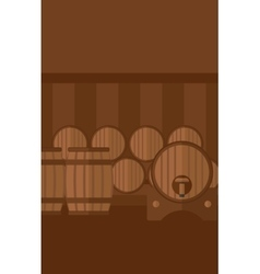 Background of wine barrels in cellar vector