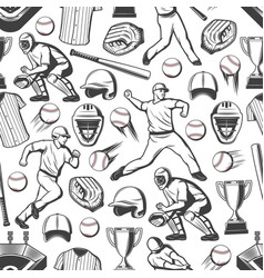 baseball sport players balls and bats pattern vector image