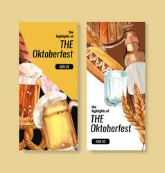 Beer and cuisine buffet at oktoberfest flyer vector
