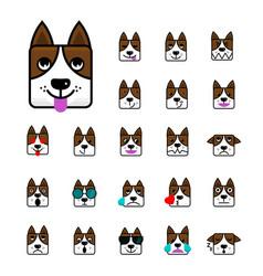 Big set of brown dog flat cartoon emoticon faces vector
