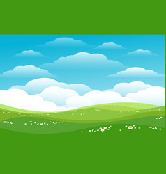 Blue skies green hills horizon vector