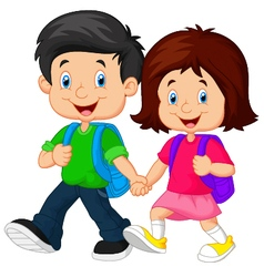Boy and girl with backpacks vector image vector image
