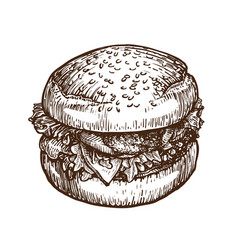 Burger hamburger sketch fast food concept hand vector