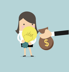 businessman hands pay money for buy idea vector image