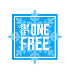 Buy one get one free sign square winter sale vector