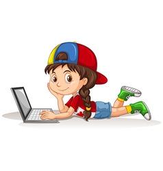 Canadian girl using laptop vector