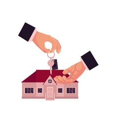 Cartoon male hands giving taking house home key vector