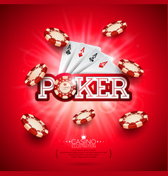 Casino with poker card and playing vector