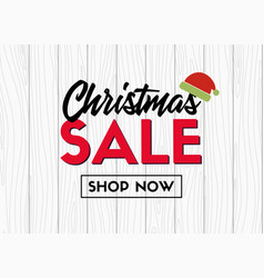 Christmas sale banner template on wood background vector