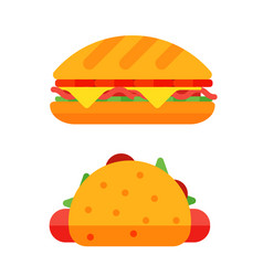 colorful sandwich cartoon fast food icons isolated vector image