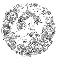 coloring unicorn 3 vector image